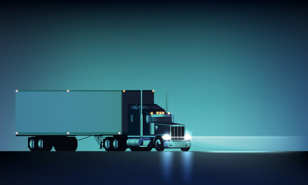 Night large classic big rig semi truck with headlights and dry van semi riding on the night background, vector illustration