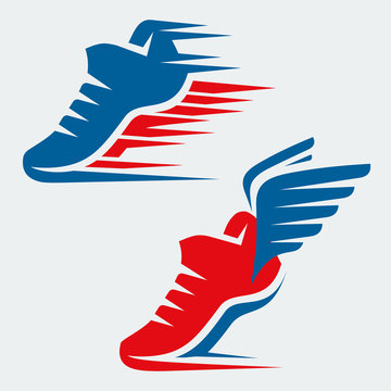 Running shoes with speed and motion trails and with wings