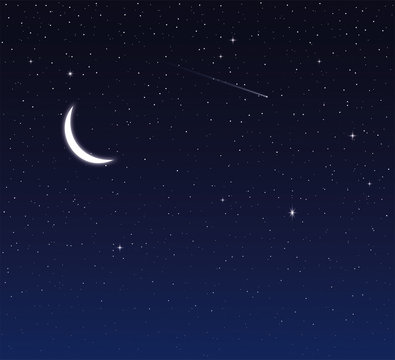 Night sky with moon and stars. Vector