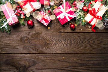 Christmas background with present and decorations.