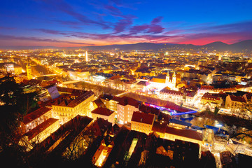 Graz cityscape evening colorful aerial view