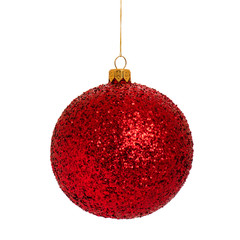 Christmas red bauble - ball isolated on white background