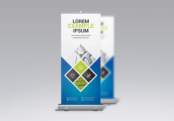 Roll-Up Banner Layout with Blue and Green Elements