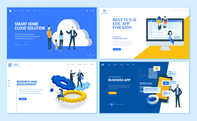 Set of flat design web page templates of business apps, research and development, home cloud solution, kids apps. Modern vector illustration concepts for website and mobile website development.
