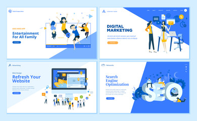 Set of flat design web page templates of SEO, web development, digital marketing, family entertainment. Modern vector illustration concepts for website and mobile website development.