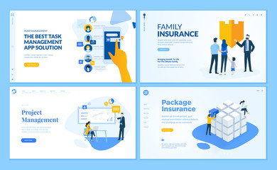 Set of flat design web page templates of task management, insurance, project management. Modern vector illustration concepts for website and mobile website development.