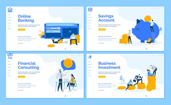 Set of flat design web page templates of online banking, financial consulting, savings, business investment. Modern vector illustration concepts for website and mobile website development.