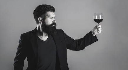 Sommelier, degustator with glass of wine, winery, male winemaker. Man holding glass of champagne in hand. Man with a glass of red wine in his hands. Beard man, bearded, sommelier tasting red wine.