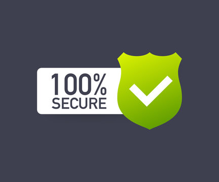 100 Secure grunge vector icon. Badge or button for commerce website. Vector illustration.