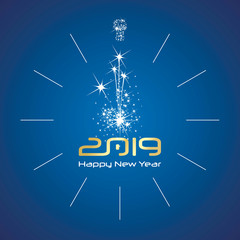 Happy New Year 2019 midnight light firework elegant clock gold shining numbers blue background