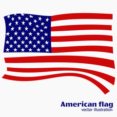 Bright background with flag of USA. Happy America day background. Illustration with white background. Bright illustration with flag.