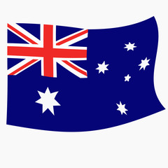 Bright button with flag of Australia. Happy Australia day background. Illustration with white background. Bright illustration with flag.