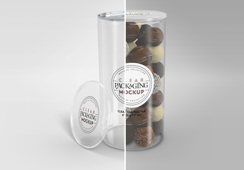 Large Clear Can with Pull Tab and Clear Lid Packaging Mockup