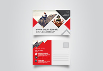 Postcard Layout with Red Elements