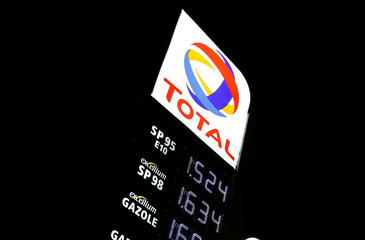 Fuel prices are displayed at a petrol station of French oil giant Total in Latresne near Bordeaux