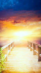 Way to sky . Stairway to heaven . Way to God . bright light from heaven . Religious background . Light from sky . Light at the End of the