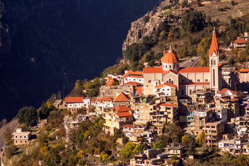 A view of Bcharre, a town in Lebanon high in the mountains on the edge of the Qadisha Gorge. Bcharre, Lebanon