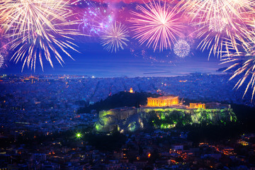 Printed kitchen splashbacks Athens cityscape of Athens with illuminated Acropolis hill and Pathenon temple at night with fireworks, Greece