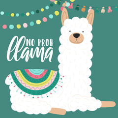 Vector illustration of a white alpaca in clothes with national South American motives, decorations with an inscription No prob llama. Image for children, cards, invitation, print, textiles.