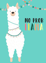 Vector illustration of a white alpaca in clothes with national motives with an inscription No prob llama on a blue background. Image for children, cards, invitation, print, textiles.