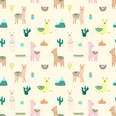 Seamless pattern of cute multicolored llamas or alpacas, mountains, cacti on a light background. Image for children, room, textile, clothes, cards, wrapping paper. Hand-drawn illustration.
