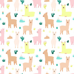 Seamless pattern of cute hand-drawn llamas or alpacas, mountains, cacti, garland, sun on a transparent background. Illustration for children, room, textile, clothes, cards, wrapping paper.