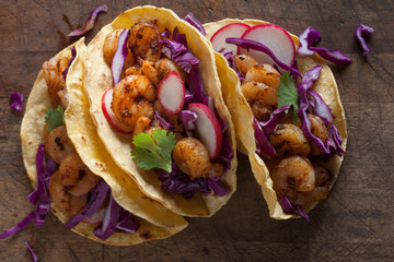Three shrimp tacos