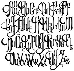 Vector handwritten gothic font for unique lettering.