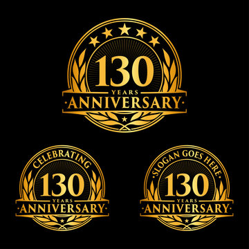 130 Years Anniversary Set. 130th Celebration Logo Collection. Vector and illustration.