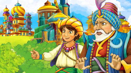 cartoon scene with medieval arabic kingdom prince and king traveling - far east ornaments - the stage for different usage - illustration for children