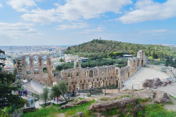 Wall Mural - view of Herodes Atticus amphitheater of Acropolis and cityscape of Athens, Greece
