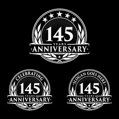 145 Years Anniversary Set. 145th Celebration Logo Collection. Vector and illustration.