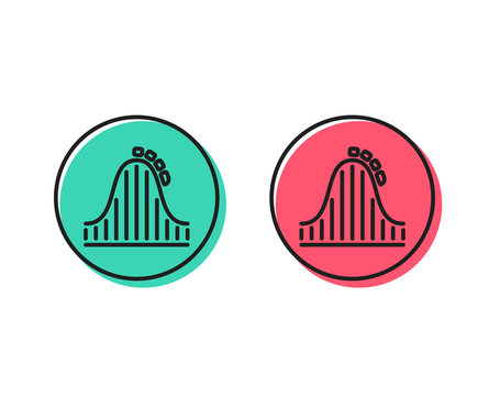 Roller coaster line icon. Amusement park sign. Carousels symbol. Positive and negative circle buttons concept. Good or bad symbols. Roller coaster Vector