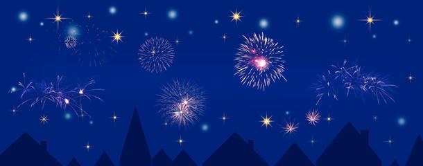 Silvester Feuerwerk über einer Stadt