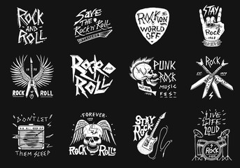 Set of Rock and Roll music symbols with Guitar Wings Skull, Drums Plectrum. labels, logos. Heavy metal templates for design t-shirt, night party and festival. Hand drawn. Engraved sketch.