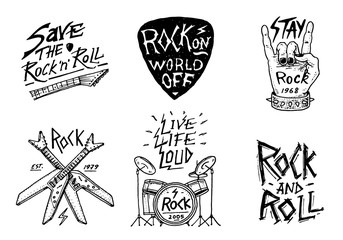 Set of Rock and Roll music symbols with Drums, Plectrum and machete. labels, logos. Heavy metal templates for design t-shirt, night party and festival. Hand drawn. Engraved sketch.