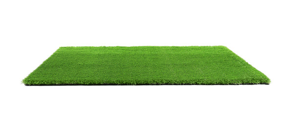 Tuinposter Gras Artificial grass carpet on white background. Exterior element