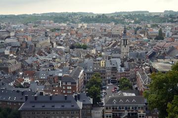 Belgian city Namur, capital of province of Namur and Wallonia, aerial view