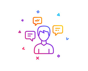 Chat Messages line icon. Conversation sign. Communication speech bubbles symbol. Gradient line button. Conversation messages icon design. Colorful geometric shapes. Vector