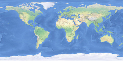 Physical map of the World with outlines - detailed topography in geographic coordinate system