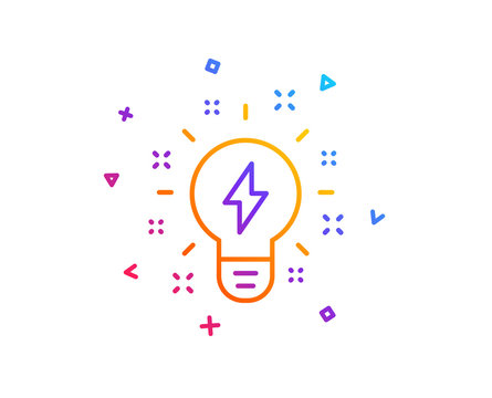 Inspiration line icon. Creativity light bulb with lightning bolt sign. Graphic art symbol. Gradient line button. Inspiration icon design. Colorful geometric shapes. Vector