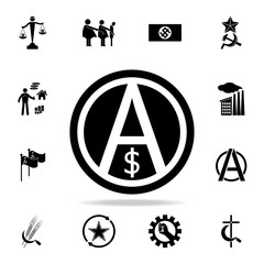 a sign of anarchy and the dollar icon. Detailed set of communism and socialism icons. Premium graphic design. One of the collection icons for websites, web design, mobile app
