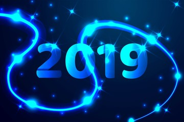 2019 blue text design. Low poly wireframe art on dark background. Happy New Year. Abstract low poly, Triangle, dot, line, polygon. Shine blue background, Vector illustration