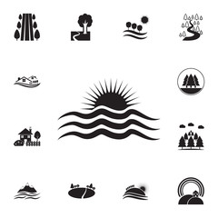sunset at sea icon. Detailed set of landscapes icons. Premium graphic design. One of the collection icons for websites, web design, mobile app