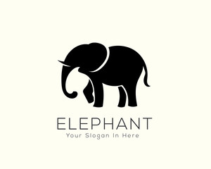 Stand black elephant logo design inspiration
