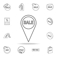 word sales in pin icon. Detailed set of clearance sale icons. Premium graphic design. One of the collection icons for websites, web design, mobile app