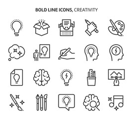 Creativity, bold line icons. The illustrations are a vector, editable stroke, 48x48 pixel perfect files. Crafted with precision and eye for quality.