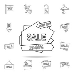 20-50 discount on the tape icon. Detailed set of clearance sale icons. Premium graphic design. One of the collection icons for websites, web design, mobile app