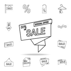 50 discount on tape icon. Detailed set of clearance sale icons. Premium graphic design. One of the collection icons for websites, web design, mobile app