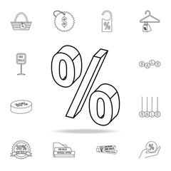 3d percent icon. Detailed set of clearance sale icons. Premium graphic design. One of the collection icons for websites, web design, mobile app